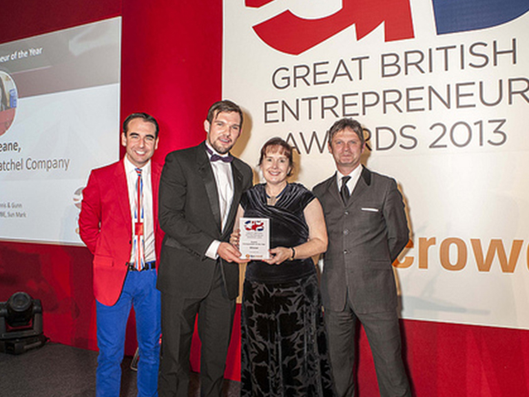 Julie Deane, founder of The Cambridge Satchel Company, picked up a hat-trick of gongs at the inaugural Great British Entrepreneur Awards!