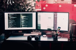 desktop, computers, screens